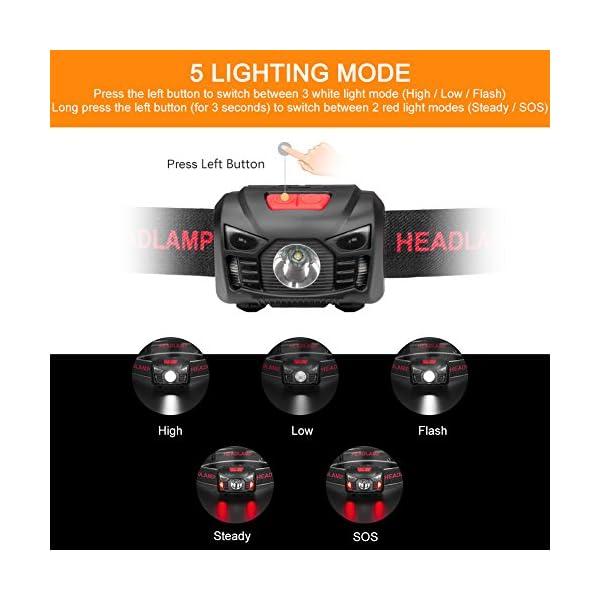 Linkax Linterna Frontal LED USB Recargable Linterna de Cabeza Alta Potencia Luz Frontal Lampára de Cabeza con 5 Modos… 2