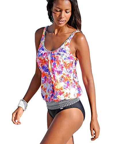 BOZEVON Donna Sexy Tankinis - Casual e Confortevole Costumi da Bagno Donna di Grandi Dimensioni Set Divisi da Tankini 2 Pezzi Costumi da Bagno Stampati con Fodera di Tankini Top con Slip Neri