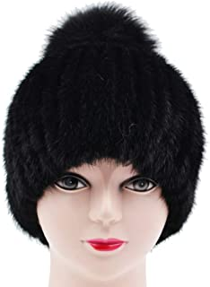 Sandy Ting Womens Winter Warm Knitted Mink Fur Hat With Silver Fox Fur Pom Beanie Hats