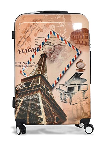 Suitcase Paris Light 4 Wheel Spinner Hard Shell Luggage Trolley Cabin Case - 24' (24 Inch, Paris)