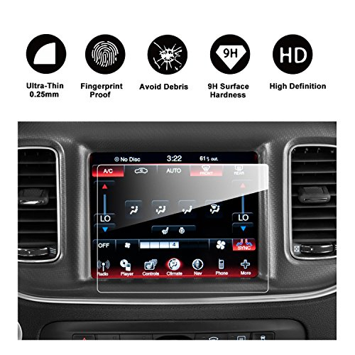RUIYA 2017 Ram Dodge Durango Uconnect 8.4-Inches Car Navigation Protective Film,Uconnect Clear Tempered Glass HD and Protect your Eyes