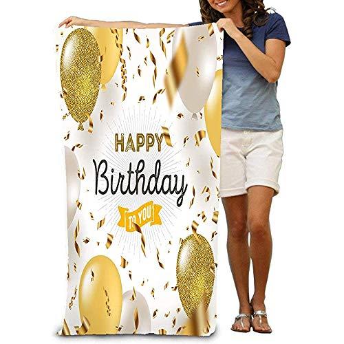 chillChur-DD Bath Towel Telo Mare Grande,Telo Morbido con Design Unico Buon Compleanno Lamina d'oro Tti Bianco Glitter Oro Palloncini Fantastico