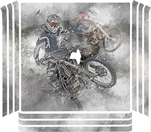 Dirt Bike Dirtbike Shredding Vinyl Decal Sticker Skin by Moonlight Printing for Playstation 4 (PRO) PS4 Pro Console