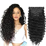 Clip in Hair Extensions Synthetic hair Clip in 140G 7Pcs/Lot Japanese Heat Resistant Fiber Hairpieces Deep Wave/ Body Wave/Straight hair (Deep Wave, Natural Black 1B#)
