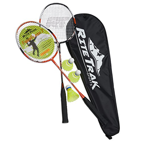 RiteTrak Sports FiberFlash 7 Badminton Racket Set, Featuring 2 Carbon Fiber Shaft Racquets, 3 Shuttlecocks Plus Fabric Carrying Bag All Included (Orange/Black)