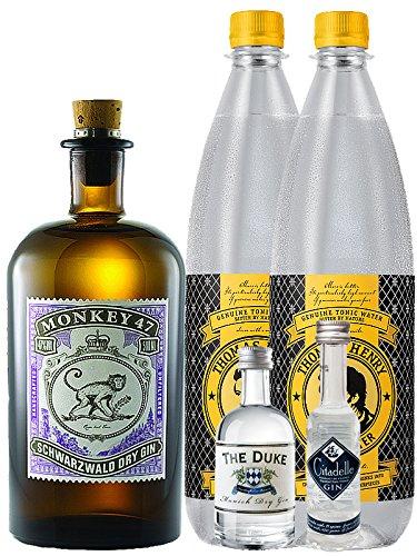 Gin-Set Monkey 47 Schwarzwald Dry Gin 0,5 Liter + The Duke München Dry Gin 5 cl + Citadelle Gin aus Frankreich 5 cl + 2 x Thomas Henry Tonic Water 1,0 Liter