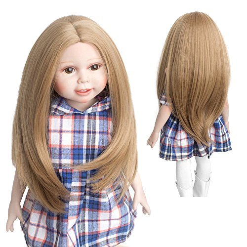 MUZI WIG 18 Inch Doll Hair Wigs, Heat Resistant Long Straight Replacement Wigs for 18'' Dolls DIY Making Supplies (M27)