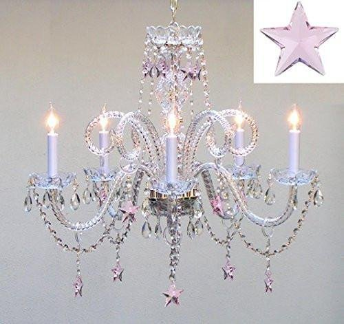 Swarovski Crystal Trimmed Chandelier! Crystal Chandelier Lighting with Pink Crystal Stars H25 X W24 - Nursery, Kids, Girls Bedrooms, Kitchen, Etc!