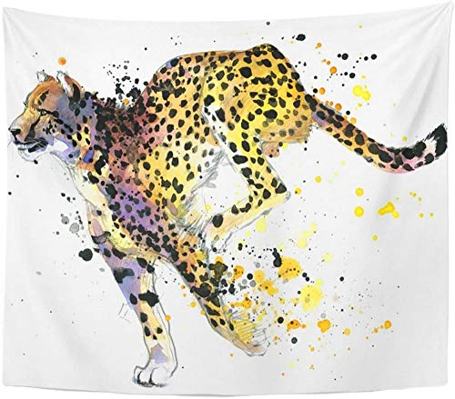 Tapiz Animal Cheetah Acuarela Splash Zoo Wildlife Cat Celebre Tapiz Decoración para el hogar Colgante de pared para sala de estar Dormitorio 150x200cm