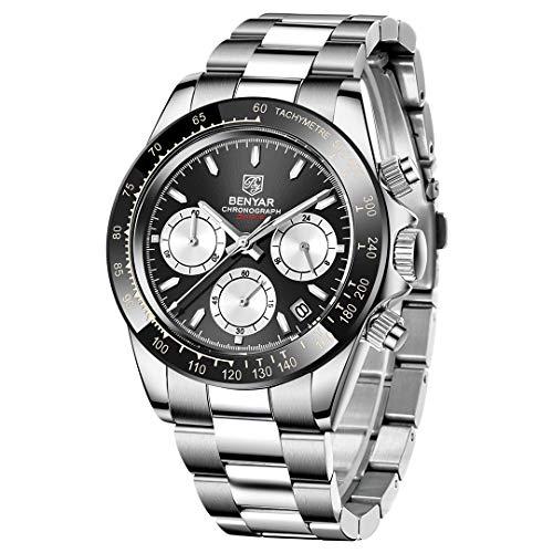 BENYAR Herren-Armbanduhr, klassisch, modisch, Business, Chronograph, Casual, Edelstahlband schwarz / weiß
