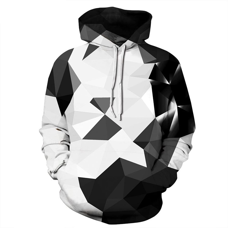 Imzoeyff Unisex Sweater Hooded Sweatshirt Schwarz-Wei-Geometrischen Muster 3D-Druck Lose Groe Gre Breathable Winter Warm Sweatshirt Sweatshirt Paar Modelle Casual,S M