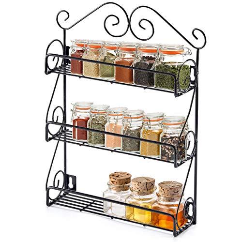 Kruidenrek - Staand of Ophangbaar - voor 21 Kruidenpotjes - 3 Laags Kruidenrekje - Keuken Rek - Kruiden en Specerijen Organizer - Zwart