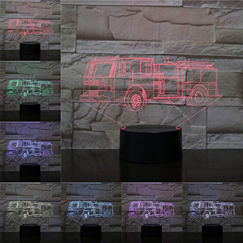 Night Light Table Lamp Fire Fighting Truck 3D Table Lamp Home Decor Flashlight Bedroom Lighting Bedside LED Muti-Color Kids Gift Kids