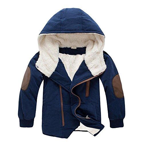 Logobeing Abrigo Niños 3-9 Años, Bebé Niño Chaquetas de Niños Chicos con Capucha y Prendas de Vestir Exteriores de Piel Chaqueta de Invierno CáLido Ropa Abrigo (6-8Años, Armada)