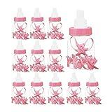 JUEYAN 24tlg Schnuller Milchflasche Babyflasche Taufe Babyshower Gastgeschenk (Rosa)