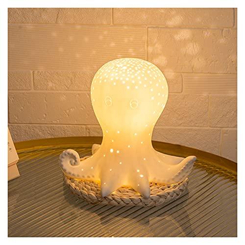 YIFEI2013-SHOP Lámpara de Mesa Lámpara de Mesa de Noche Blanco Cerámica Octopus Escritorio Luz Multicolor Cambio de Noche Luz para la Lactancia Materna Lámpara Escritorio