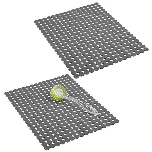 mDesign 2er-Set dekorative Spülbeckenmatte zum Schutz der Küchenspüle vor Kratzern – extragroße Abtropfmatte aus PVC – rutschfeste Spülmatte im Punktedesign zum Zuschneiden – grau