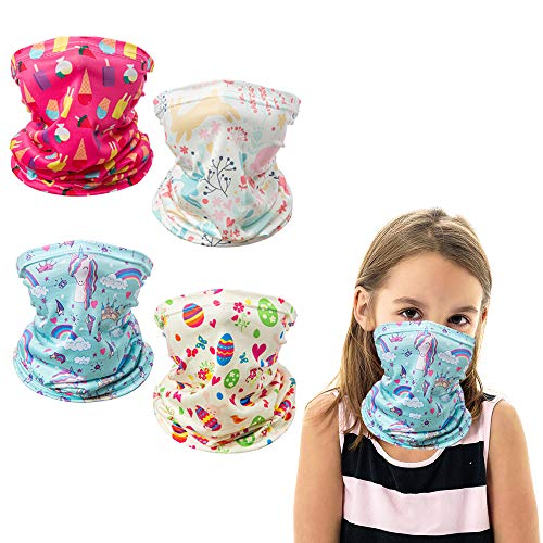 4PCS Kids Neck Gaiter Face Mask Bandana Boys Girls Reusable Face Scarf Balaclava