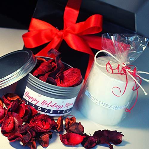 Personalized Decorative Fragrance Botanicals Potpourri & Scented Candle Gift Box Set, Customized Decorative Gift Set for Christmas, Birthday, Thanking, Home (Blue Gift Box Set)