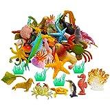 42pcs Mini Ocean Animals Toys Realistic Plastic Sea Creature Figure Toys Fake Under The Sea Creatures Bath Toys for Kids Toddlers