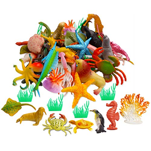 42pcs Plastic Ocean Animals Toys Realistic Mini Sea Creature Figure Toys Fake Under The Sea Creatures Bath Toys for Kids Toddlers