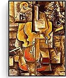 XMYC Arte Abstracto, Pintura al óleo de fama Mundial, violín y Uvas de Pablo Picasso, Cuadro de Pared, decoración para Sala de Estar, 40x60cm sin Marco