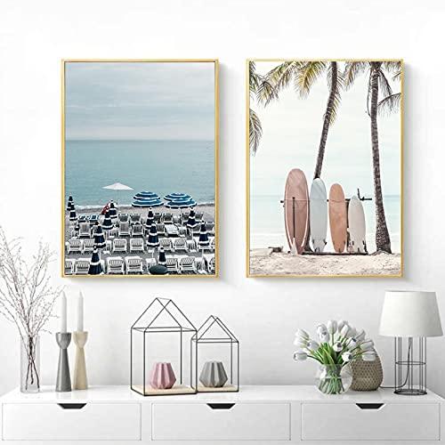 Playa costera Tabla de surf Cocotero Silla de playa Arte de la pared Pintura en lienzo Imágenes nórdicas y carteles impresos para la decoración del hogar 60x90cmx2 Marco interno