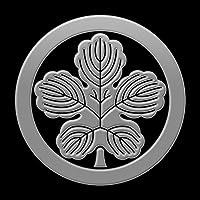 蒔絵シール 家紋ステッカー 「丸に梶の葉 銀」