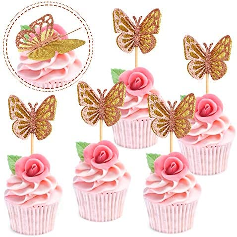 Ercadio 24 Pack Double Layers Butterfly Cupcake Toppers Assembled Gold and Rose Gold Glitter product image