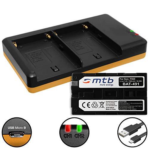 Batería (7800mAh) + Cargador Doble (USB) NP-F960, F970 para Sony videocámaras - Neewer LED luz de vídeo - ATOMOS Shogun, Ninja… y mas - Ver Lista de compatibilidad