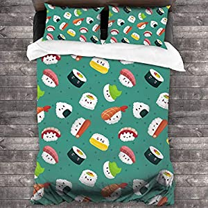 IUOVPHYI Cute Sushi Super Soft Bedding Unique Pattern Design Bedclothes 3-Piece Bedding Set 86″X70″