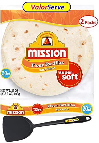 Mission Soft Taco Flour Tortillas 8' - 2 Packs of 20 by ValorServe - 40 Super Soft Tortillas with ValorServe™ Quesadilla Spatula