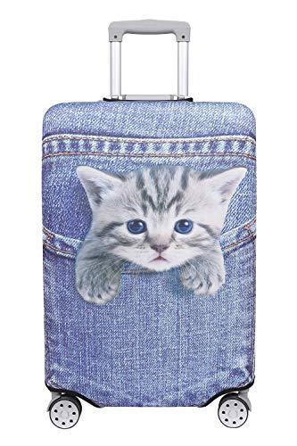 【こもれび屋】スーツケース 保護 カバー かわいい イヌ ネコ デニム トランクケース キャリーケース 伸縮 旅行 OD13 (猫・トラ(ブルー), S)