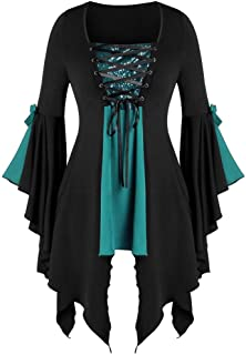 DONTAL Halloween Witch Top Women Gothic Criss Cross Lace Insert Butterfly Sleeve T-Shirt