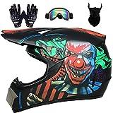 Dajie Motocross Helmet for Men Women, DOT Approved Adult Off-Road Dirt Bike ATV Helmet with Goggles Neck Gaiter Gloves, Four Wheeler MX BMX Downhill Helmet,Clown,S