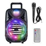 Bluetooth Portable Karaoke Machine for Kids and Adults, 8'' Subwoofers Wireless PA System, Portable Karaoke Speaker with 1 Wired Mics DJ Lights Remote Control, Ideal for Party Gathering Christmas