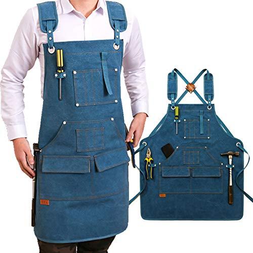 Einstellbare Werkzeugschürze Arbeitsschürze Aus Canvas Mit 9 Großen Taschen Für Ingenieure Tischler Handwerker Für Küche, Garten, Keramik, Werkstatt, Garage,Blau