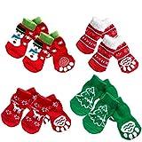 4 Juegos de Calcetines de algodón Antideslizantes para Mascotas, Perros, Cachorros, Gatos, con patrón de Navidad, Talla M
