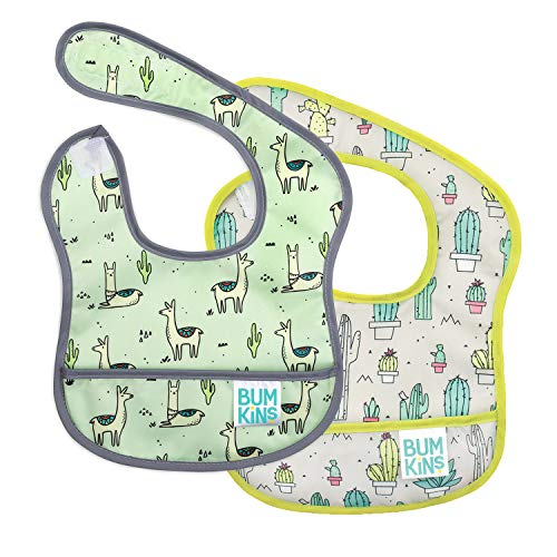 Bumkins Starter Bib Baby Bib Infant Waterproof Washable Stain and Odor Resistant 2 Piece Pack Llama/Cactus 39 Months