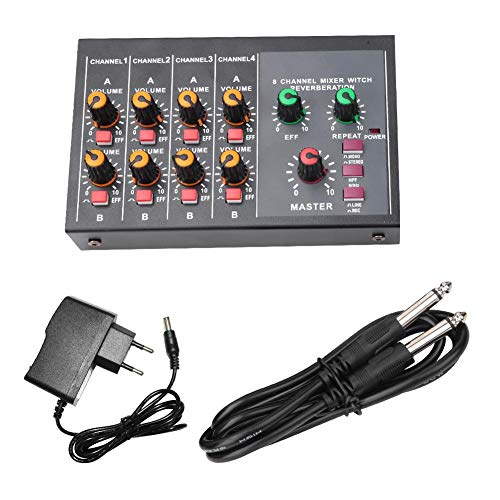 Bnineteenteam Stereo Audio Mixer 8-Kanal Mixer Stage Stereo Mixer Professioneller Mixer mit Nachhallfunktion(EU-Stecker)