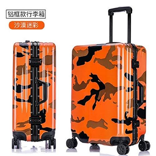 Handgepäck Luggage Spinner Marke Travel Suitcase 100% Aluminium Rahmen Camouflage 20/24/26 Zoll Größe Army Style Qualität PC Rolling (Farbe : Desert Camouflage, Luggage Size : 20')