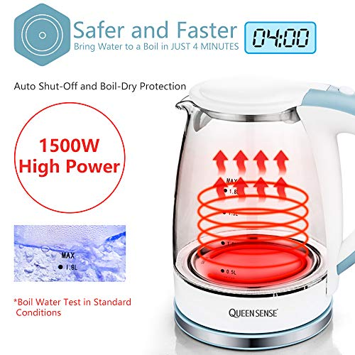 Queensense Electric Glass Kettle 1.8 Liter Blue LED Illuminated Portable Office Use Pure Glass Cordless Auto Power Off Stainless Steel Quick Boil Tea Jug Kettle-GK1705