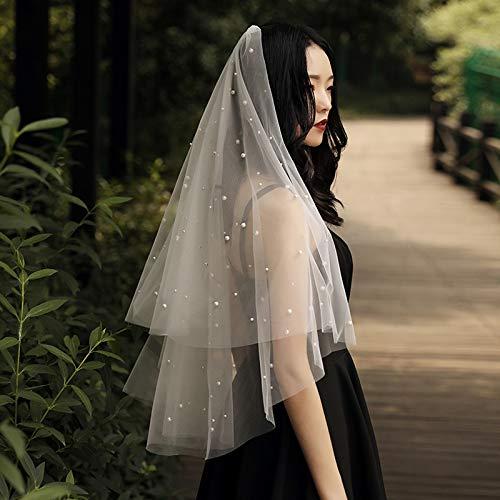 weichuang Velo de novia precioso de una capa de 150 cm de color marfil para boda 2020 perlas de tul suave velo de novia accesorios para novia (color: marfil)