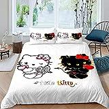 He-llo Kit-ty Bettwäsche-Set, Tagesdecke, für Jungen, Mädchen, Teenager, Engel, Dämonen, 1 Bettbezug mit 2 Kissenbezügen, Super King Size