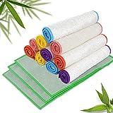 Masthome 13pcs Bambus Putztücher ohne Mikrofaser für Küche Bambusfaser Putzlappen Super Saugfühig und Umweltfreundliche Reinigungs- und Geschirrtücher