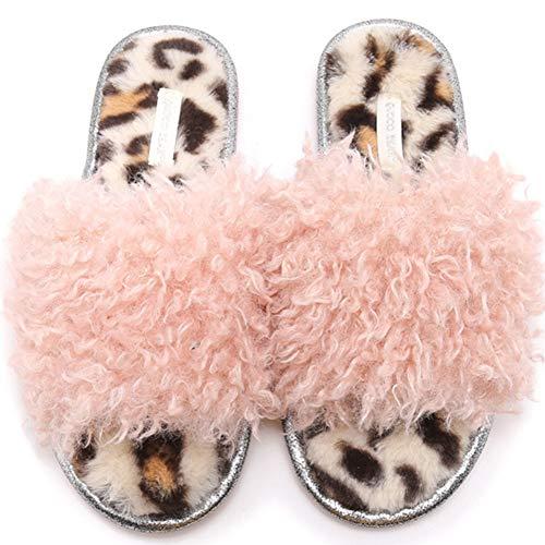 KRILY Zapatillas Casa Mujer Zapatillas de Casa Invierno Mujer Suave y Antideslizante Felpa Pantuflas Cómodas Suave Slippers con Punta Abierta Chanclas Antideslizantes,Rosado,39