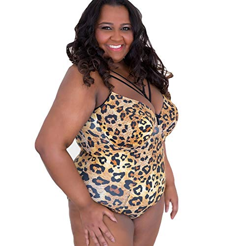 Viva Voluptuous Leopard Print Gold Brown Plus Size one Piece Swimsuit, Lightly Padded US 38 - US 48 (38L)