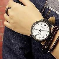 QTMIAO 美しいドレスウォッチ時計 329原宿スタイルのビッグブラックフレーム落書き腕時計 (Color : 3)
