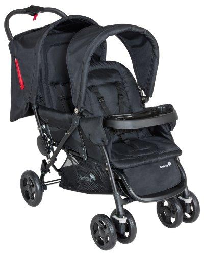 Safety 1st Duodeal Passeggino Gemellare Fratellare Compatto, Reclinabile, con Parapioggia e 2 Coprigambe, Full Black