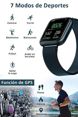 BANLVS Smartwatch, 1.4 Inch Reloj Inteligente IP67 con Pulsómetro Presión Arterial, Monitor de Sueño Podómetro Contador… 6